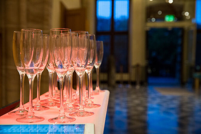 Champagne glasses on a table